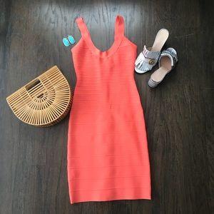 Gorgeous Herve Leger melon colored dress!